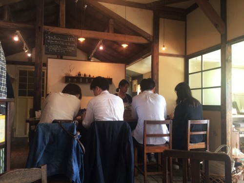 counter bar seats of cafe in Kamakura