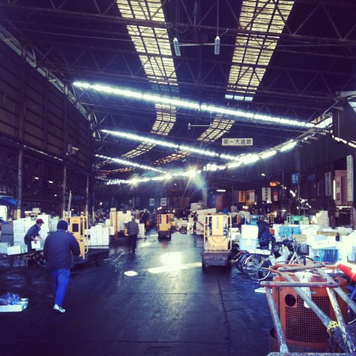 The inner market area of Tsukiji fish market