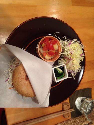 Bagel sandwich/veggie burger available in a vegetarian/vegan restaurant in Morioka