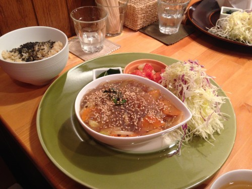 set meal in a vegetarian/vegan restaurant in Morioka