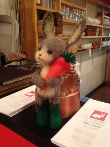 rabbit figuring in Usagi Botanica, a vegetarian/vegan restaurant in Morioka serving macrobiotic food
