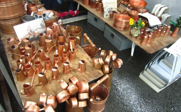 Various metal tools sold at the Kochi Sunday market.