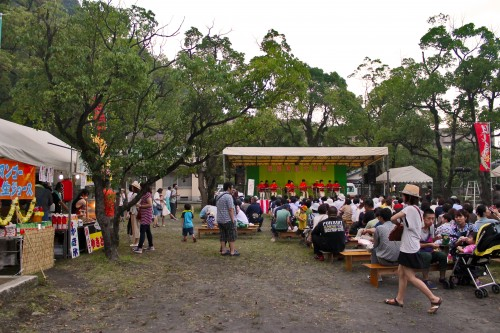Open area at Rokugatsudo festival in Kagoshima.