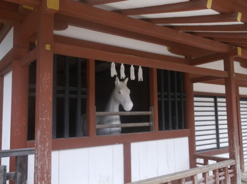 horse statue in Shinto shrine at Miyajima Island