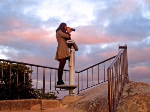 taking a picture atop a mountain, Miyajima, Hiroshima