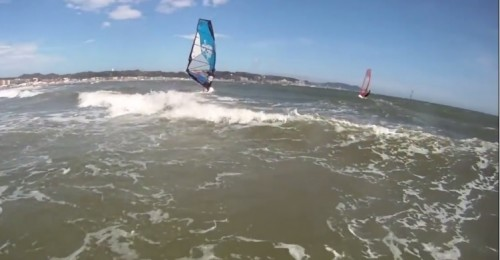 wind surfing in Kamakura beach