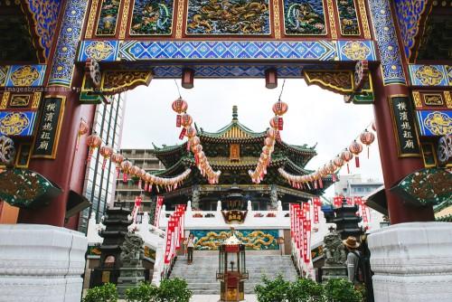 Temple with Chinese decoration near Yokohama Chinatown.
