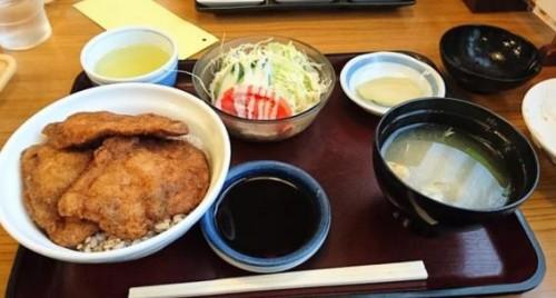 katsudon set lunch at restaurant in Fukui