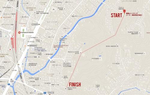 Map of the Gionyama hiking course in Kamakura.