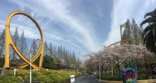Nagashima Resort amusement park alongside flower garden