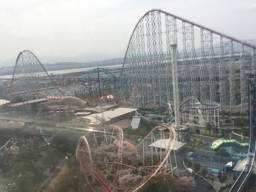 Nagashima Resort from on high, amusement park alongside garden park