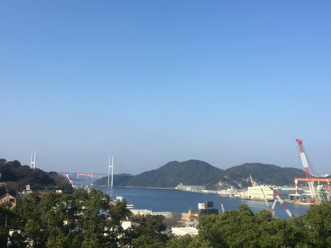 View of the bay and city from a distance.