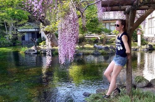 The lake of a shrine in Fujinomiya near Mount Fuji.