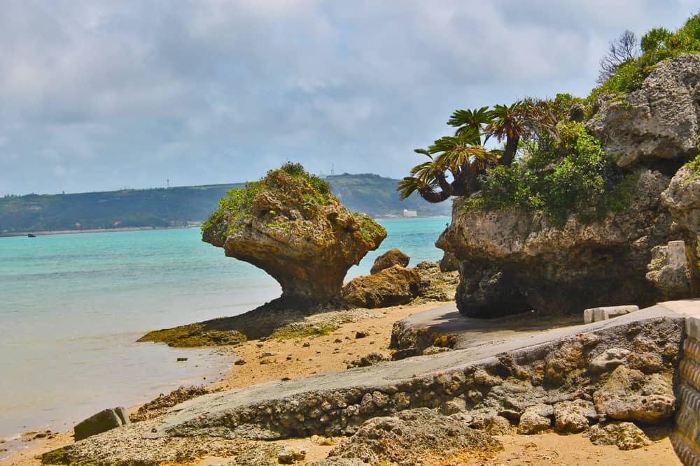 lovely beach and rocks near shirumichu
