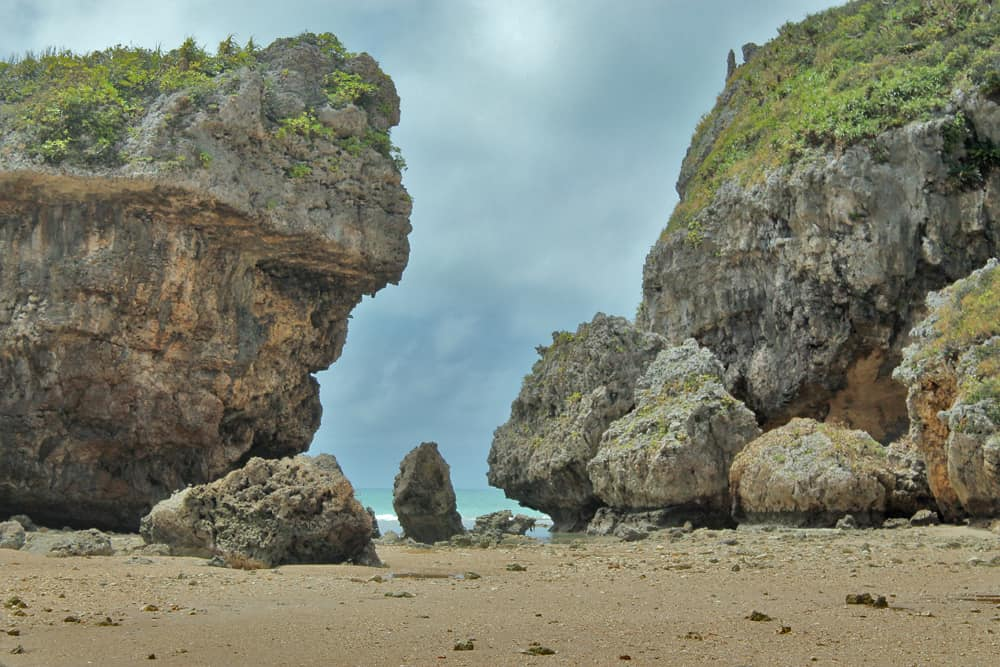 rock formations on the beach near shirumichu