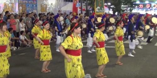 Ladies performing synchronised dancing at Eisa festival