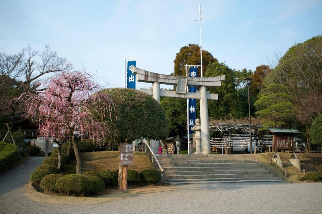 Stone torii at Suizenji Park