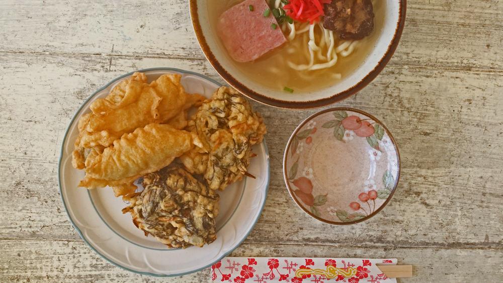 Eating traditional Okinawan soba in Hamahiga Island
