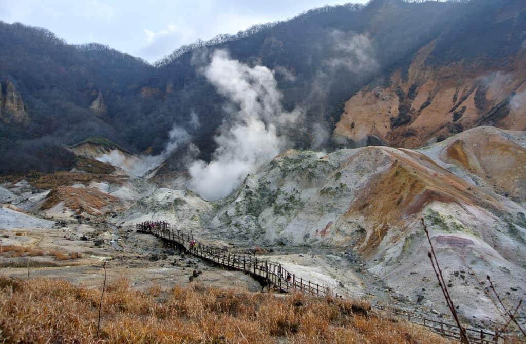 Steam rises from Noboribetsu Onsen in Hokkaido