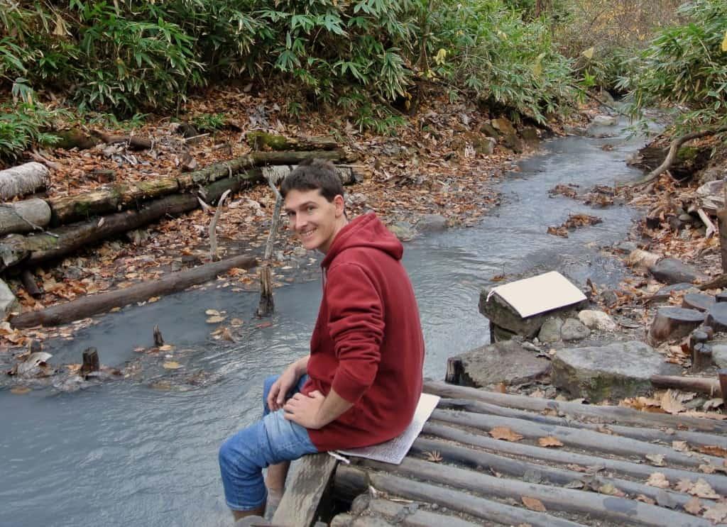 soaking our feet in the Oyunumagawa Brook Foot Bath