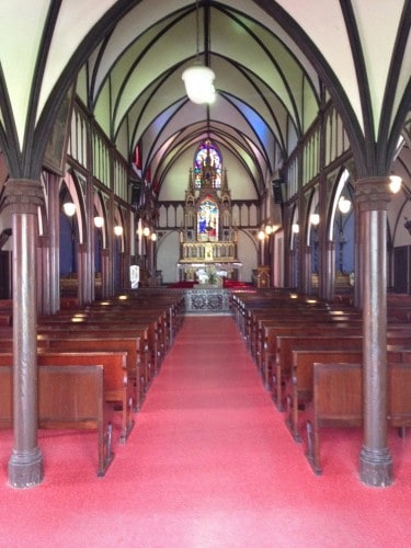 Inside the Oura Church, Stainglass Windows, Red Floor