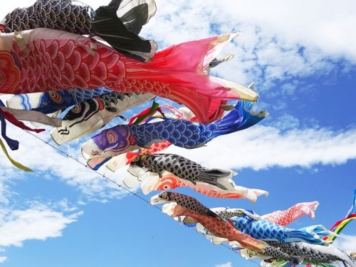 koinobori (carp streamers) represent Kodomo no Hi