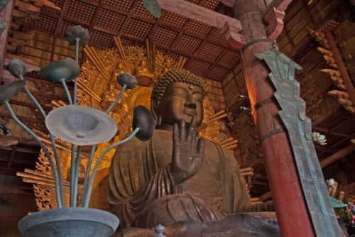 giant buddha statue in Todaiji Temple in Nara is the physical embodiment of Japanese Buddhism history