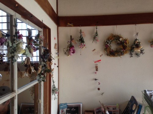 Dried flower arrangements in the Macrobiotic Restaurant