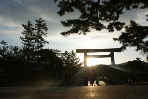 A torii gate of a shrine in Ise, Mie.