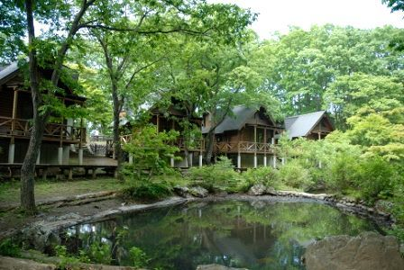 Log houses by the pond in Chichibu, Saitama