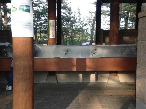 washing area at Nishihama campsite, Yamagata