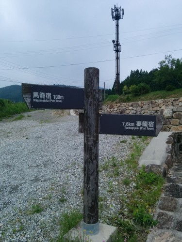 Road sign for Tsumago and Magome