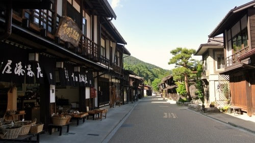 Narai post town along the Nakasendo way connecting between Kyoto and Tokyo.