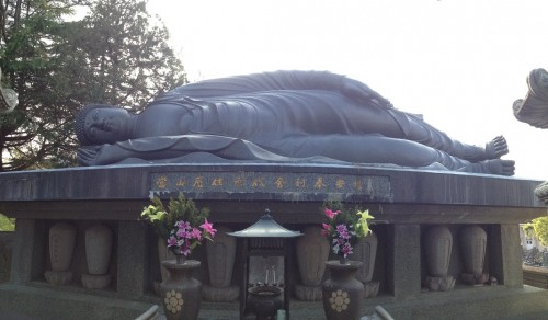 A reclining buddha, a rarity in Japan