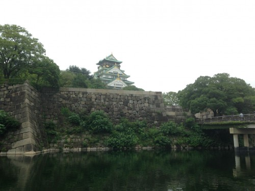 Osaka Castle overlooking the moat.