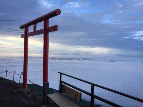 Reaching Mr fuji hut! See this beautiful Torii