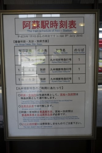 JR restrictions in Aso Region