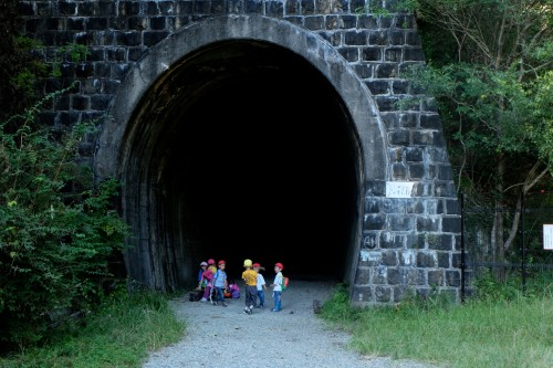 A tunnel hiking on the old Fukuchiyama railway in Hyogo
