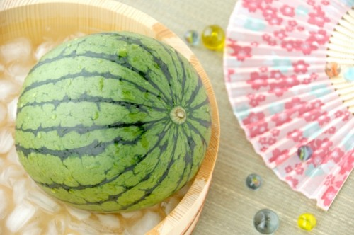 A sensu and watermelon...both necessities for the summer