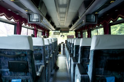 Inside the Bus,You sit on the assigned seat if you've reserved in advance