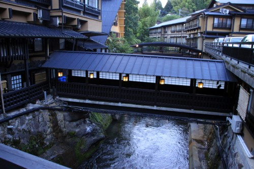 The nostalgic bridge in Kurokawa onsen