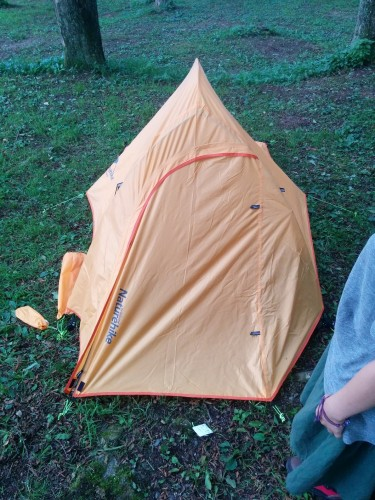 Attempting to camp out in this tiny tent!