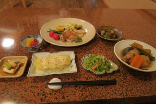 Nice meal at Farmer's inn in Yamakoshi