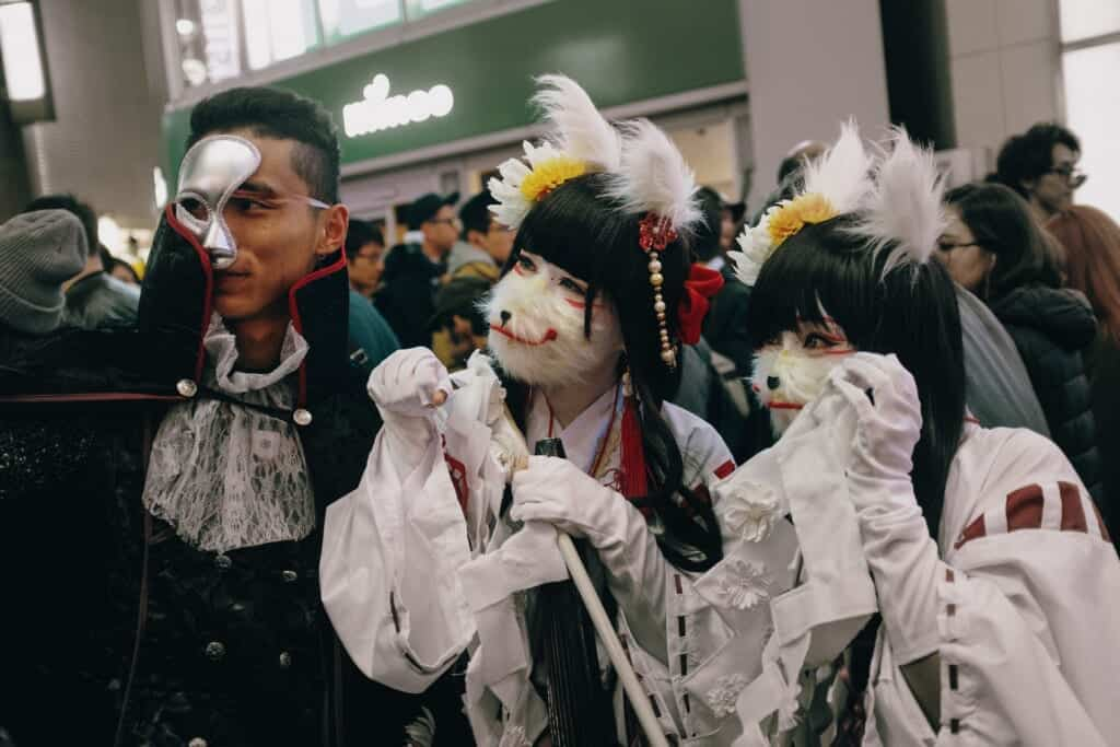 People with a costume during a Halloween parade