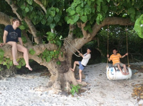 Enjoying the Barrel Swing and Hanging Out in the Trees on Kaiji Beach