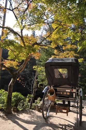 Miyajima ricksaw and foliage