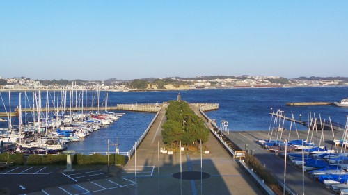 View on the bay from the rooftop of Enoshima Yacht house