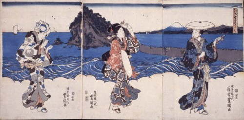 Pilgrim women on the road to Enoshima island. Artist: Utagawa Kunisada.
