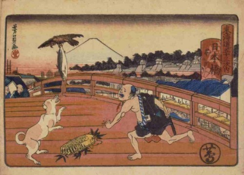 During the Edo period, there was a fish market by the Nihonbashi Bridge, the starting point of the Tōkaidō road. The Edo people's favorite local fish was bonito. A kite is stealing a man's bonito. Artist: Utagawa Yoshikazu.