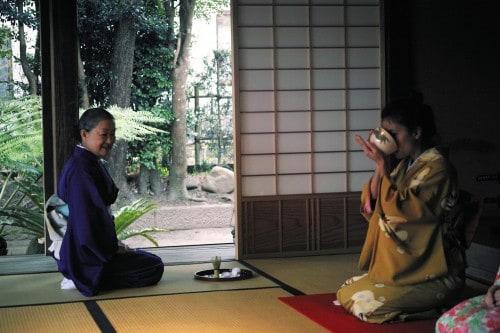 Drinking tea at tea ceremony session in Izumi